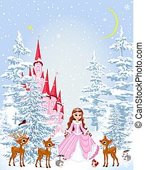 Princess and animals in the winter forest