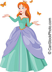 Princess and butterflies - Illustration of Princess with...