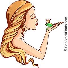 Princess and frog illustration