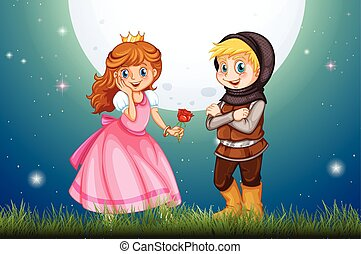 Princess and knight in the field