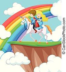 Princess and prince riding horse