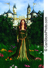 Princess and the Castle - Princess wearing a green dress...