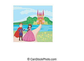 princess and the prince in a beautiful garden