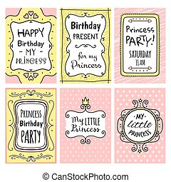 Princess baby girl birthday cards set