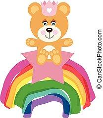 Princess baby girl teddy bear on star and rainbow