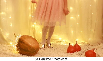 Princess baby in a golden shoe from a fairy tale about...