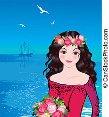Princess. - Beautiful princess against the sea background....
