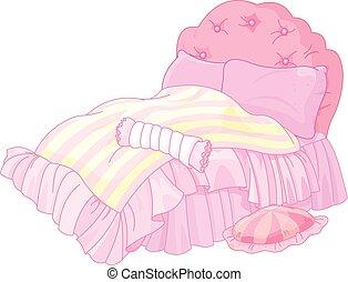 Princess Bed - Illustration of magic princess bed