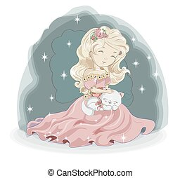 princess blonde and white cat in flower
