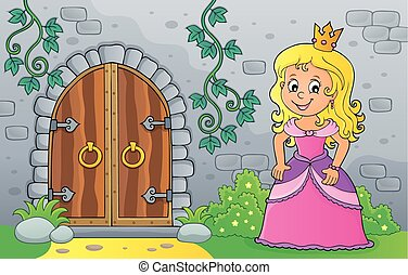 Princess by old door theme image 1