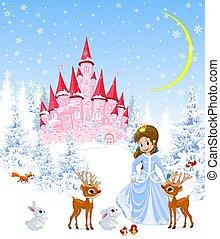 Princess, castle, animals, winter, forest