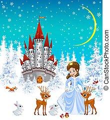 Princess, castle, animals, winter