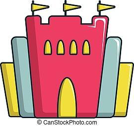 Princess castle icon, cartoon style
