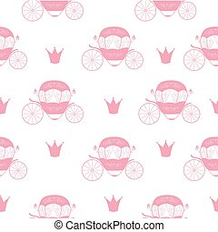 Princess Cinderella Fairytale Carriage. Seamless Pattern Background. Vector Illustration