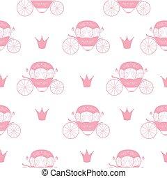 Princess Cinderella Fairytale Carriage. Seamless Pattern Background. Vector Illustration