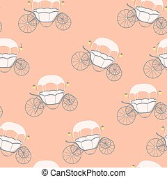 Princess Cinderella Fairytale Carriage. Seamless Pattern. Vector Illustration