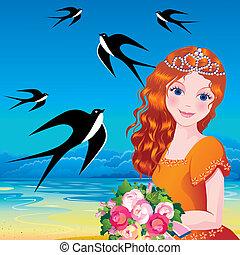 Princess. - Beautiful princess against the sea background....