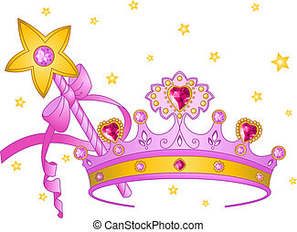 Princess Collectibles - Beautiful crown and magic wand for...