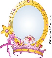 Beautiful crown, magic wand and mirror for true princess