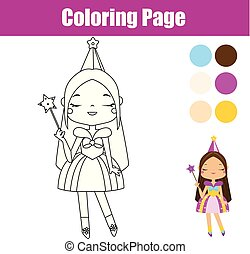 Princess coloring page. Educational game. Printable activity for toddlers