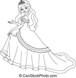 Princess coloring page - Beautiful princess shows his hand,...