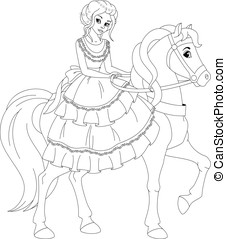 Winter princess coloring page beautiful winter princess for Princess riding a horse coloring pages
