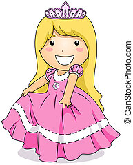 Princess Costume - Illustration of a Little Girl Wearing a...