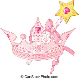Princess crown and magic wand - Beautiful crown and magic...