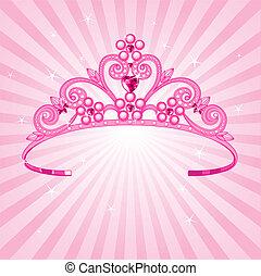 Beautiful shining princess crown on radial background