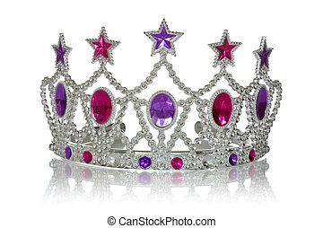Princess crown - Crown or tiara with reflection on a white...