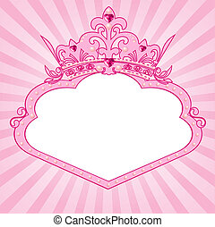 Princess crown frame - Beautiful background with crown frame...