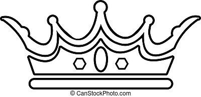 Princess crown icon, outline line style - Princess crown...