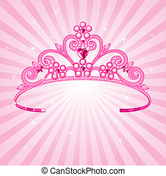 Princess Crown - Beautiful shining princess crown on radial...