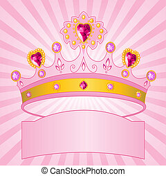 Princess Crown on radial backgrou - Beautiful shining true...