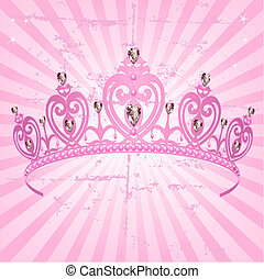Princess Crown on radial grange background - Beautiful...