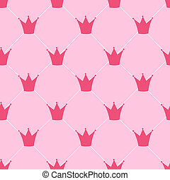 Princess Crown Seamless Pattern Background Vector...