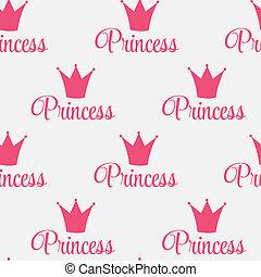 Princess Crown Seamless Pattern  Background Vector Illustration.