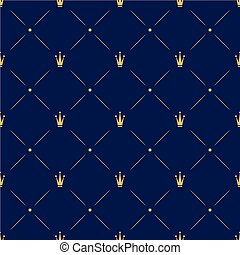 Princess Crown. Seamless repeating pattern. Diadem princess isolated on blue background.