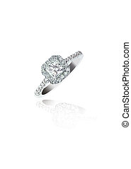 Princess Cut Diamond Wedding band engagement ring