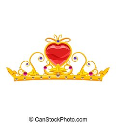Princess Diadem with diamonds and precious stones, gold, crown, heart, fairy tale, attribute for beauty, cartoon style, vector, illustration, isolated on white background
