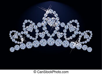 Princess diadem with diamonds heart