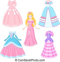 Princess Doll - Beautiful princess blonde with four dresses