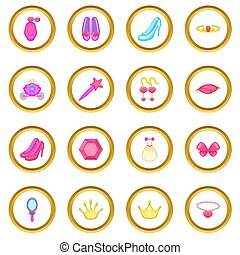 Princess doll icons circle