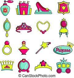 Princess doll icons set, cartoon style
