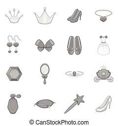 Princess doll icons set, monochrome style