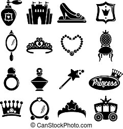 Princess doll icons set, simple style