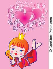 Princess dreams. Fairy-tale. Vector art-illustration on a...