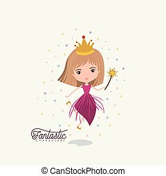 princess fairy fantastic character with crown and magic wand colorful sparks and stars on white background