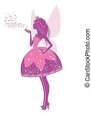 Princess fairy - Silhouette of a beautiful princess isolated...
