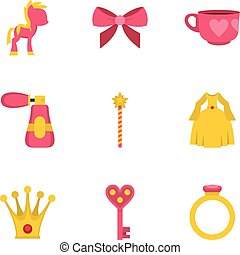 Princess fairy tail icon set, flat style